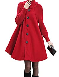 Women's Mid Long Single Breasted Cowl Neck Loose Woolen Trench Cloak Coat