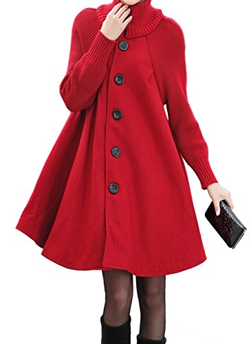 Women's Mid Long Single Breasted Cowl Neck Loose Woolen Trench Cloak Coat (Large, - Fur Single Breasted Coat