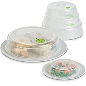 VonShef Campana Juego de 5piezas Microondas (cubierta de plato para microondas/antisalpicaduras cubierta de juego con ventilación