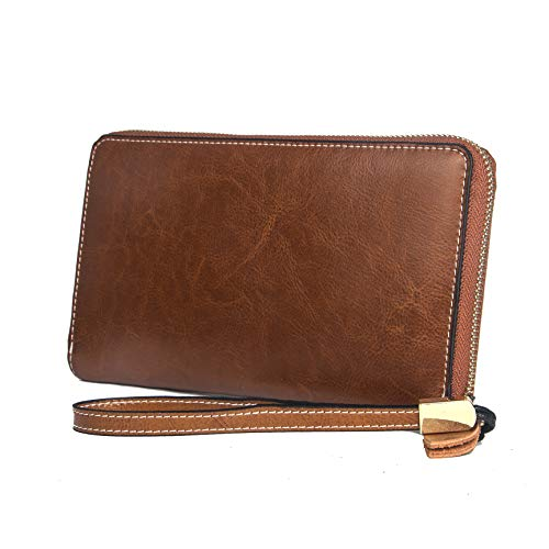 Women Large Wallet Leather RFID Blocking Wristlet Clutch Purse With Phone Pocket