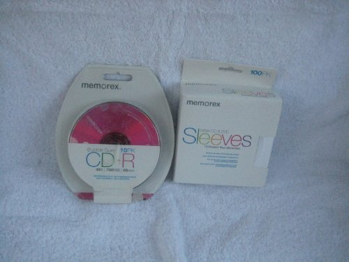 Memorex Sleeves CD/DVD White 100 per-pk (1 pack) & Memorex Cd-R