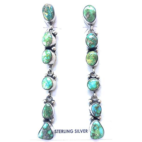 Navajo Sterling Silver And Sonoran Gold Turquoise Post Dangle Earrings