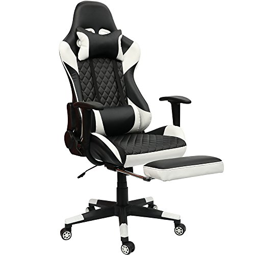 Kinsal Gaming Chair Including Headrest and Lumbar Support with Massage Function, Executive Computer Chair High-back Ergonomic Desk Chair Racing Chair, Leather Office Chair (White) Kinsal
