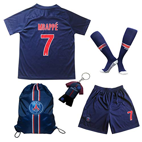 LES TRICOT 2018/2019 Paris Home #7 MBAPPE Football Futbol Soccer Kids Jersey Shorts Socks Set Youth Sizes (7-8 Years)