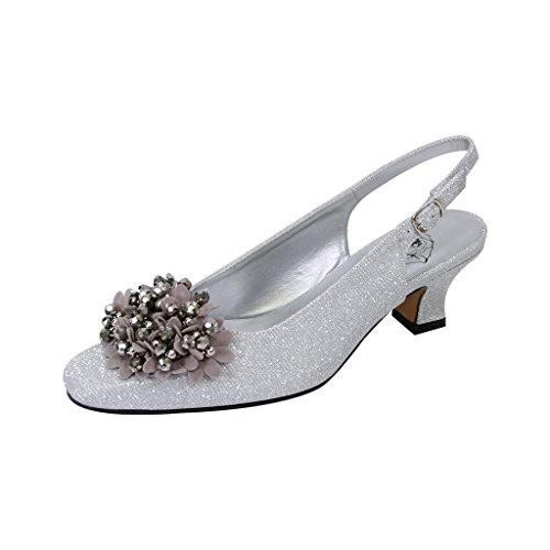 Floral FIC Natalie Women Extra Wide Width Metallic Flower Bow Slingback Silver 11 - Natalie Pumps