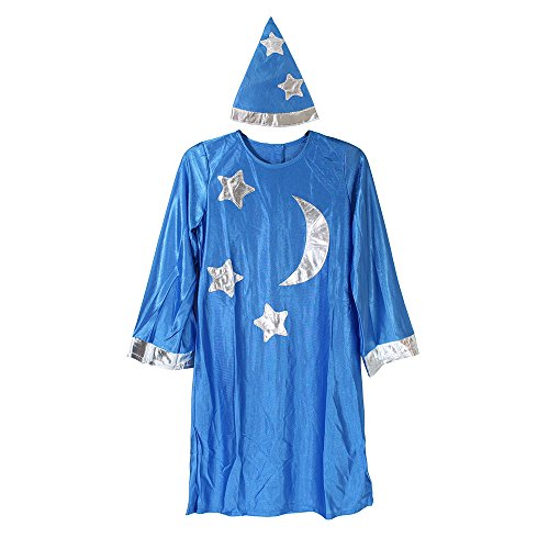 Kids Mage Costume Merlin The Magician Wizard Robe Child Renaissance (Winter Queen Costume)