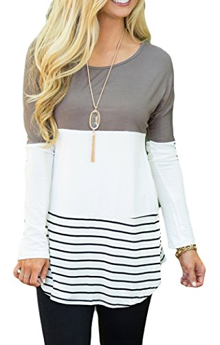 Chvity Women's Back Lace Color Block Tops Long Sleeve T-shirts Blouses (M, Gray)