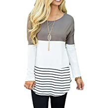 Chvity Women's Back Lace Color Block Tops Long Sleeve T-Shirts Blouses