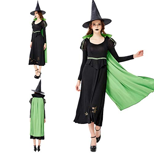 charmsamx Womens Halloween Witch Costume Classic Spellcaster Witch Cosplay Spooky Halloween Clothes Black Casual Dress with Witch Hat and Green Capes for Party Festival ()