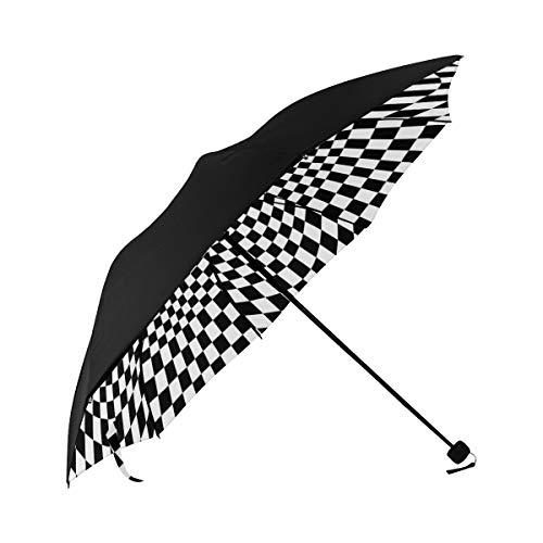 Umbrella Optical Illusion Black White Underside Printing Compact Travel Sun Umbrella Parasol Anti Uv Foldable Umbrellas With 95% Uv Protection For Women Men Lady Girl