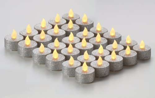 Brightpik Premium Flameless Candles - Set of 30 LED Battery Operated Tea Lights - Silver Glitter