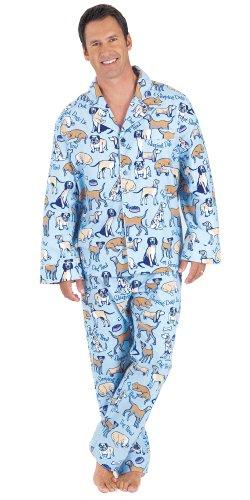 PajamaGram Men's Dog Tired Flannel Boyfriend Pajamas w/Button-Up Top