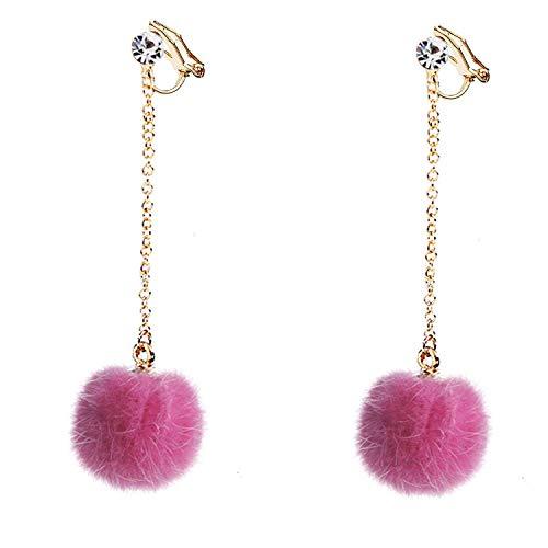 - Hairball Clip on Earrings Long Dangle Tassel non Pierced for Women Girls Rubber backs Cubic Zirconia Pink