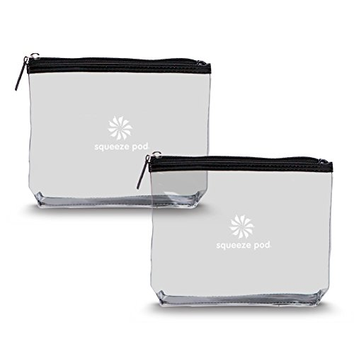 Squeeze Pod TSA Approved Clear Toiletry Bag, Small Quart Size Carry On Bag for Travel Size Toiletries Cosmetics – Durable PVC Plastic with Heavy Duty Zipper, Black Trim, Pack of 2 CTBBB