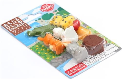 Safari Animals Iwako erasers set 8 pieces from Japan