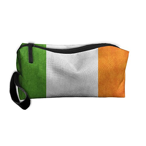 LogicPor Grunge Ireland Flag Portable Zipper Makeup Bag Travel Cosmetic Pouch Toiletries Bag Storage Bag Organize Stationery Pencil Holder Coin Purse Medicine Kit - Usps Delivery To Times Ireland