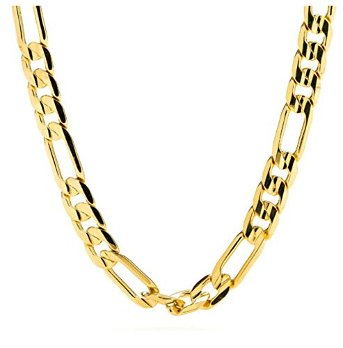 Figaro Chain Gold Chain Necklace 7mm Diamond Cut 24K Gold Plated 30X Thicker Than Any Overlay USA Made Gold Figaro Necklace.(24)