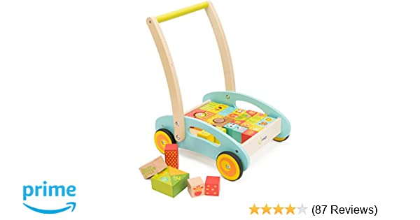 Amazon Cossy Wooden Baby Learning Walker Toddler Toys For 1 Year Old Forest Theme Blocks Roll Cart Push Pull Toy 37 Pcs Games