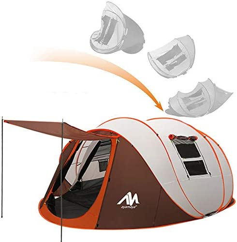 4-6 Pop Up Tents with Vestibule Ventilated Mesh Windows Dome Popup Tents Double Layer Waterproof Easy Setup Family Camping Tent