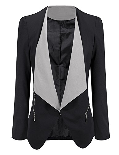 ACKKIA Women's Draped Open Front Blazer Business Casual Padded Jacket