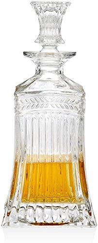 Circleware 10111 Empire Elegant Liquor Scotch Brandy Bourbon Wine Whiskey Decanter Best Gift Drink Beverage Dispenser Pitcher Carafe with Glass Stopper, 709ml. Clear,