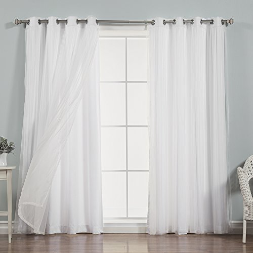 Cheap Best Home Fashion Mix & Match Tulle Lace & Nordic White Curtain Set – Stainless Steel Nickel Grommet Top – White – 52″W x 96″L – (2 Curtains and 2 Sheer curtains)