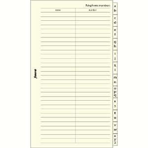 Filofax Personal - Recambio para agenda de anillas (en inglés), diseño de agenda telefónica A - Z, color crema