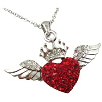 Silver Tone Red and Clear Crystal Heart Crown Guardian Angel Wings Necklace Gift