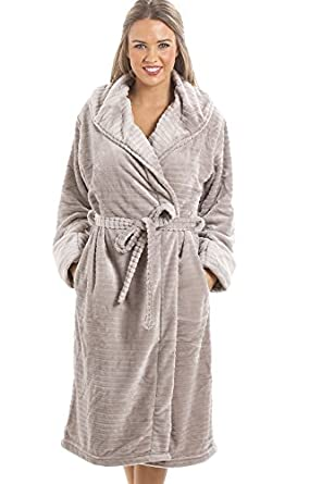 Camille Womens Ladies Super Soft Fleece Grey Dressing gown: Amazon ...