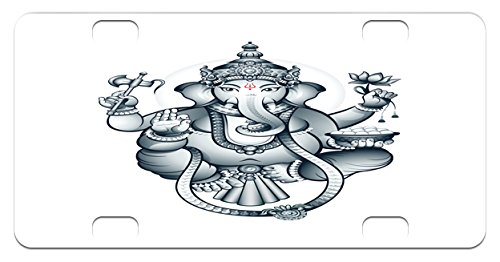 Eastern Mini License Plate by Lunarable, Elephant Lord of Good Fortune Holding Lotus Flower Hatchet Oriental Religious Deity, High Gloss Aluminum Novelty Plate, 2.94 L x 5.88 W Inches, Grey White