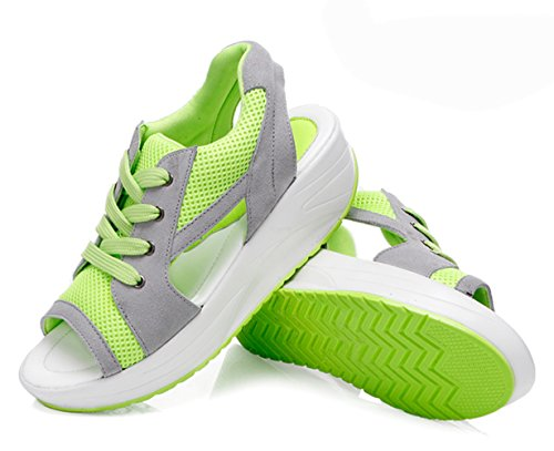 verano zapatillas y de para deportivos zapatos malla de de transpirable plataforma sandalias mujer con Cuña cabeza cómodas verdes pez de wIgCqOE5