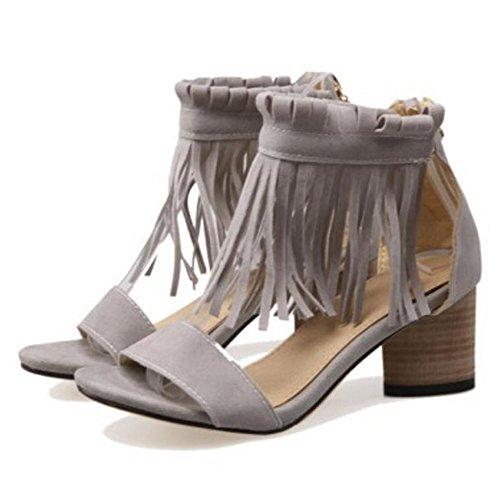 Sandales Talons Femmes Bloc JOJONUNU Gray q5ZtOTS