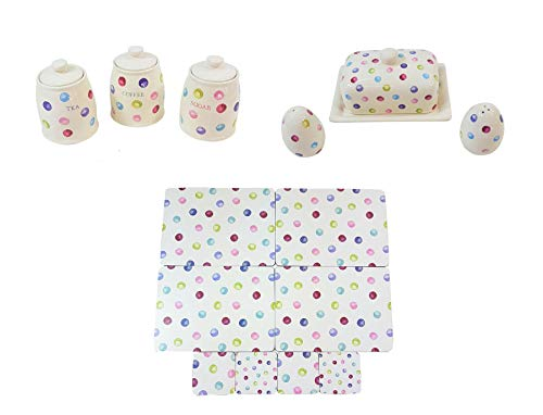 (14 PIECE PRINTED SPOTS DOTS TEA COFFEE SUGAR CANISTERS BUTTER DISH SALT PEPPER SHAKERS PLACEMATS COASTERS)