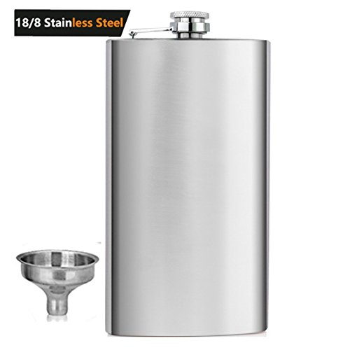 Shenglin Classic Style Stainless Steel Liquor Whiskey Hip Flask Silver 10 oz ()