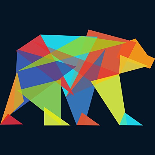 Fractal geometric bear Men's Small Navy Graphic T Shirt - Design By Humans