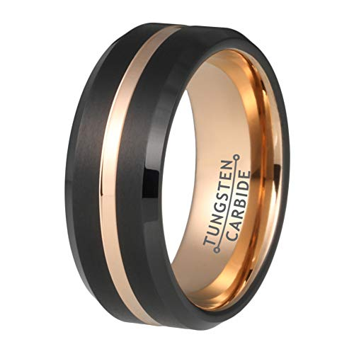 - Wow Jewelers 8mm Mens Womens Wedding Bands Tungsten Carbide Ring Rose Gold Grooved Center Black Brushed Finish Beveled Edges