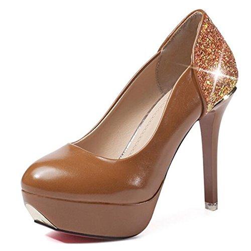 Brown Marrone Primavera DIMAOL Tacchi Scarpe Comfort PU Bianco Casual Heel Rosa Donna Nero Cadono Stiletto per qRZtP