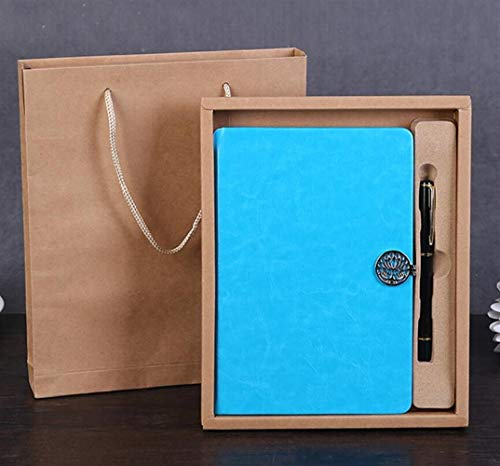 (Victor Home School Supplies Delicate Notebook Pu Leather Journal Gift Set(Blue))