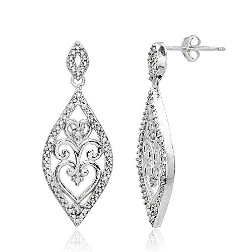 (Sterling Silver Polished Filigree Diamond Accent Statement Chandelier Drop Dangle Earrings,)