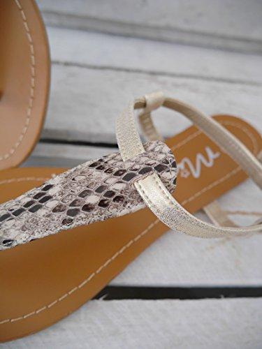 Damen Schuhe Zehentrenner Riemchensandale Sandalette Animalprint Snake beige metallic gold (8148) LXQKc
