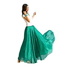 Remeehi Pure Color Chiffon Bust Skirt Bohemian Maxi Long Skirt Full Skirt