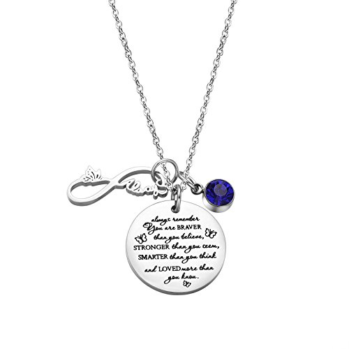(Fullrainbow You are Braver Than You Believe Stainless Steel September Birthstone Necklace Gift for Girls)