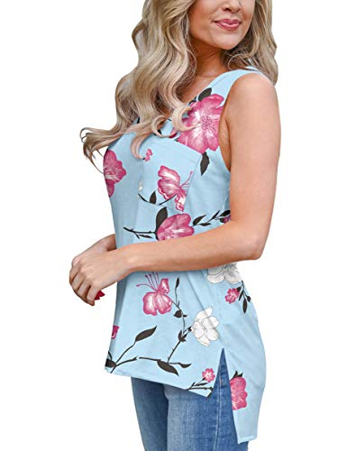 Womens Sleeveless Tops Yoga Plus Size Spring Clothes for Shorts Floral V-Neck Light Blue ()