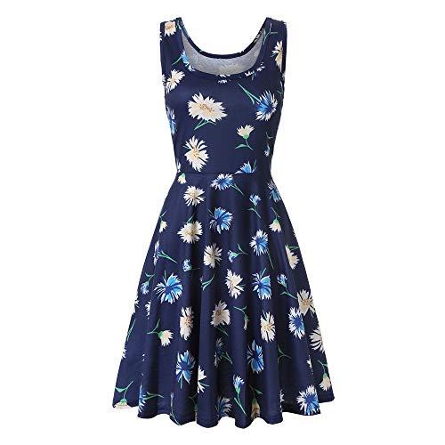 (Women's Sleeveless A line Waistline Midi Dress Casual Flared Tank Dress Casual O-Neck Party Evening Cocktail Dress)