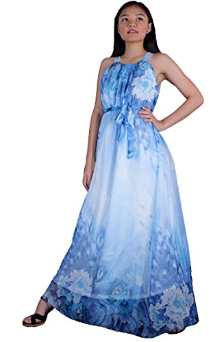 MayriDress Women Peacock Maxi Dress Plus Size Clothing Beach White Wedding Guest (Large, White/ Blue Peacock Floral)