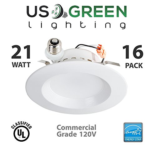 16 Pack 21W LED 3000K (Warm White) 5''/6'' Recessed Can Retrofit Downlight, Dimmable, 1400 Lumen, Energy Star, 90 CRI, 150W replacement, Low Profile by US Green Lighting
