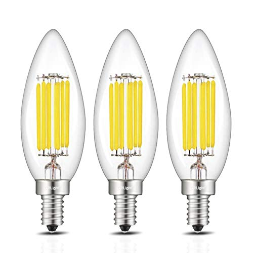 CRLight 6W 4000K LED Candelabra Bulb Daylight White 70W Equivalent 700LM Dimmable, Replace 12W Compact Fluorescent CFL Bulbs, E12 Base B10 Candle Torpedo Shape Bullet Top, 3 Pack