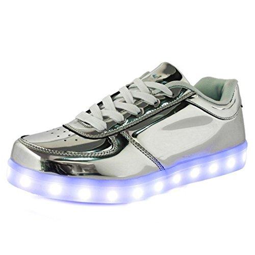 (Present:kleines Handtuch)JUNGLEST 7 Farben LED Leuchtend Aufladen USB Aufladen Sport Schuhe Paare Schuhe Herbst und Winter Sport Schuhe Freizeitschuhe Leucht Laufende Unis Silber