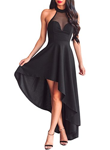 r Halter Neck Dress High Low Formal Cocktail Prom Swallowtail (XL, FT629-Black) ()