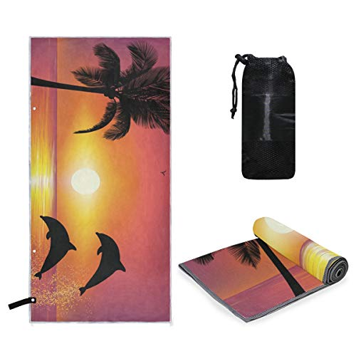 - Microfiber Travel Sports Towel Two Dolphins On The Beach at Sunset Quick Dry Soft Lightweight Absorbent&Ultra Compact-Perfect for Camping Gym Beach Bath Yoga Backpacking Fitness +Gift Bag